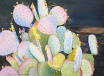 Green Painting Originals - Prickly Pear Pals by Tina  Sander