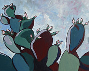 Cactus Paintings - Prickly Pear Stand by Sandy Tracey