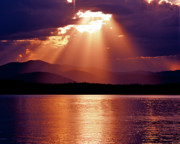 God Beams Posters - Priest Lake Sunset Heavenly Light Poster by Ed  Riche