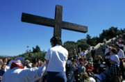 Crosses Photos - Priest leading prayer on a Good Friday procession outside Notre Dame de la Garde basilica  Marseille by Sami Sarkis