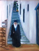 Greek Islands Posters - Priest of Pothia Poster by Therese Alcorn