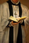 Youthful Photo Prints - Priest with Open Bible Print by Jill Battaglia