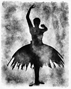 Ballet Mixed Media Posters - Prima 1 Muse BW Poster by Angelina Vick