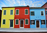 Colorful Houses Prints - Primary Colors Too Burano Italy Print by Rebecca Margraf