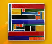 Contemporary Glass Art Framed Prints - Primary Colours Framed Print by Pat Purdy