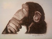 Chimpanzee Drawings Posters - Primate Thinker Poster by Wendy ONeil