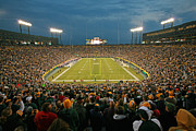 Green Bay Photo Framed Prints - Prime Time at Lambeau Field Framed Print by Steve Sturgill