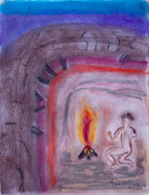 Man Cave Pastels Framed Prints - Primitive Man Fireside Framed Print by Robyn Louisell