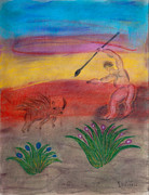 Sun Pastels Originals - Primitive Man Hunting by Robyn Louisell