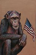 Ron Ron Paintings - Primitive Patriotism by Jim Figora