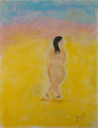 Signed Pastels Acrylic Prints - Primitive Woman Walking Acrylic Print by Robyn Louisell