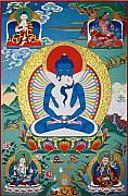 Buddhist Paintings - Primordial Buddha Kuntuzangpo by Sergey Noskov
