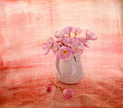 Textured Vase Framed Prints - Primroses dorange Framed Print by Linde Townsend