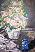 Primroses Paintings - Primroses in pot by Joseph Sandora