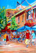 Resto Bars Paintings - Prince Arthur Street Summer by Carole Spandau