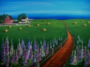Lupines Paintings - Prince Edward Island Coastal Farm by Patricia L Davidson