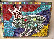 Amphibians Glass Art - Prince Frog Mosaic Wall Art by Kathleen Stewart