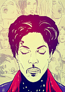 Pop Drawings Posters - Prince Poster by Giuseppe Cristiano