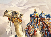Arabia Painting Framed Prints - Prince of the Desert Framed Print by Beth Kantor