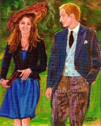 Lady Diana Framed Prints - Prince William And Kate The Young Royals Framed Print by Carole Spandau