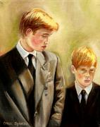 Kate Middleton Painting Prints - Prince William And Prince Harry Print by Carole Spandau