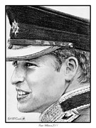 Greyscale Drawings - Prince William in 2011 by J McCombie