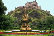 Princes Prints - Princes St. Gardens Edinburgh Castle Scotland Print by Sally Weigand