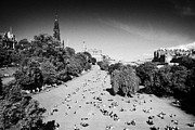 Princes Photo Framed Prints - Princes Street Gardens On A Hot Summers Day In Edinburgh Scotland Uk United Kingdom Framed Print by Joe Fox