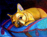 Puppies Framed Prints - Princess and her Pillow French Bulldog Framed Print by Lyn Cook
