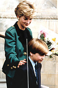 Princess Diana Posters - Princess Diana And Son Prince William Poster by Everett