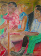 Talking Pastels - Princess Diana Nurturing Angolan Kids by Annette Campbell