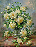Yellow Leaves Prints - Princess Diana Roses in a Cut Glass Vase Print by Albert Williams