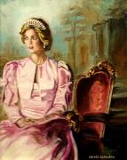 Elton John Painting Posters - Princess Diana The Peoples Princess Poster by Carole Spandau