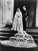 British Portraits Metal Prints - Princess Elizabeth And Prince Philip Metal Print by Everett