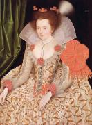 Costume Metal Prints - Princess Elizabeth the daughter of King James I Metal Print by Marcus Gheeraerts