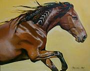 Horse Portraits Prints - Princess Feathers Print by Mary Leslie