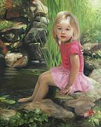 Pond Painting Originals - Princess in a Pond by Anna Bain