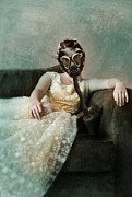 Nightmare Framed Prints - Princess in Gas Mask 2 Framed Print by Jill Battaglia