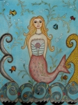 Folk Art Paintings - Princess Mermaid by Rain Ririn