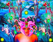 Medusa Mixed Media Metal Prints - Princess of the Neon Jungle Metal Print by Douglas Fromm