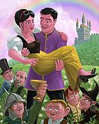 Magic Kingdom Digital Art - Princess Prince And Friends In Magic Kingdom by Martin Davey