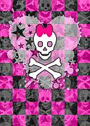 Girly Skull Posters - Princess Skull Poster by Roseanne Jones