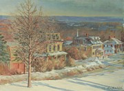 New England Village Prints - Princeton Village Print by Sharon Jordan Bahosh