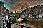 Buildings At Sunset Prints - Prinsengracht and Reguliersgracht. Amsterdam Print by Juan Carlos Ferro Duque
