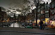 Townhouses Framed Prints - Prinsengracht and Spiegelgracht. Amsterdam Framed Print by Juan Carlos Ferro Duque