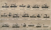 Paddles Posters - Print Depicting 19 Early Steamships Poster by Everett