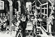 Printing Prints - Printery During The 16th Or 17th Century. Print by