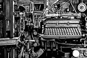 Machinery Metal Prints - Printing Press Metal Print by Kenneth Mucke