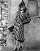 Full-length Portrait Metal Prints - Priscilla Lane Modeling Houndstooth Metal Print by Everett