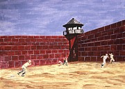 Baseball History Paintings - Prison Ball by Ralph LeCompte